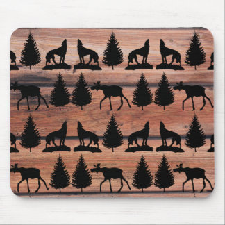 Wild Moose Wolf Wilderness Mountain Cabin Rustic Mouse Pad
