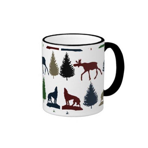 Wild Moose Wolf Wilderness Mountain Cabin Rustic Coffee Mug