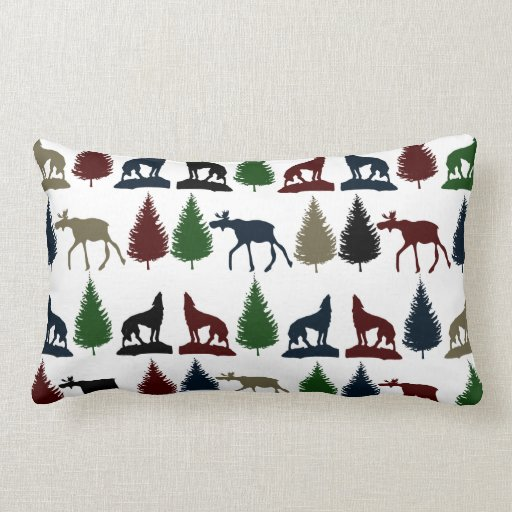 Wild Moose Wolf Wilderness Mountain Cabin Rustic Pillows