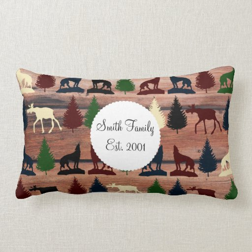 Wild Moose Wolf Wilderness Mountain Cabin Rustic Pillow