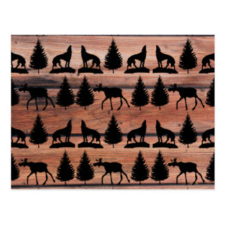 Wild Moose Wolf Wilderness Mountain Cabin Rustic Postcard
