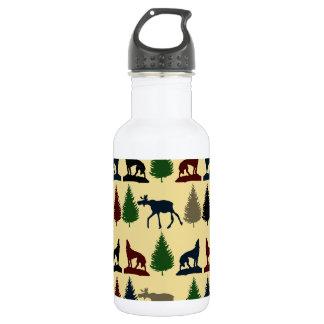 Wild Moose Wolf Wilderness Mountain Cabin Rustic Stainless Steel Water Bottle