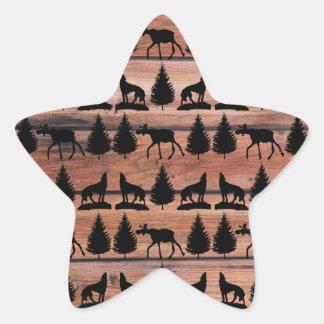 Wild Moose Wolf Wilderness Mountain Cabin Rustic Star Sticker