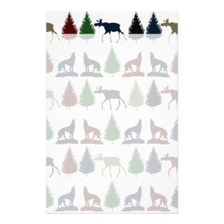 Wild Moose Wolf Wilderness Mountain Cabin Rustic Stationery
