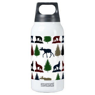 Wild Moose Wolf Wilderness Mountain Cabin Rustic Thermos Bottle