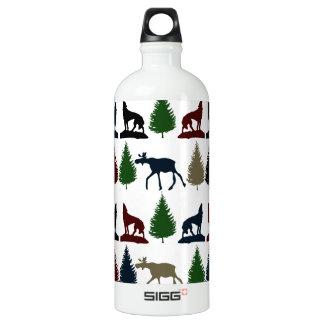 Wild Moose Wolf Wilderness Mountain Cabin Rustic Water Bottle