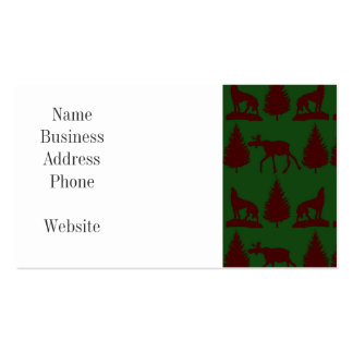 Wild Moose Wolves Pine Trees Rustic Green Maroon Business Card