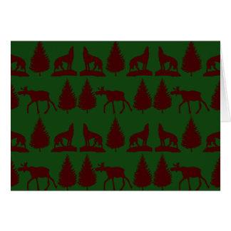 Wild Moose Wolves Pine Trees Rustic Green Maroon Card
