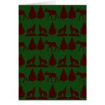 Wild Moose Wolves Pine Trees Rustic Green Maroon Greeting Card