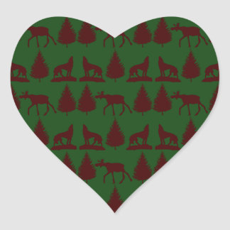 Wild Moose Wolves Pine Trees Rustic Green Maroon Heart Sticker