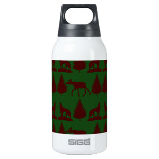 Wild Moose Wolves Pine Trees Rustic Green Maroon Insulated Water Bottle