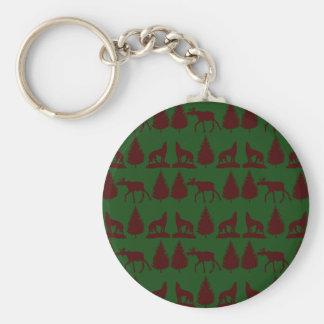 Wild Moose Wolves Pine Trees Rustic Green Maroon Keychain