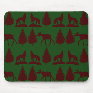 Wild Moose Wolves Pine Trees Rustic Green Maroon Mouse Pad