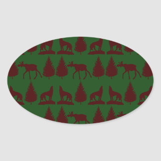 Wild Moose Wolves Pine Trees Rustic Green Maroon Oval Sticker