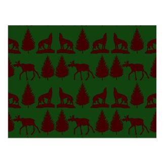 Wild Moose Wolves Pine Trees Rustic Green Maroon Postcard