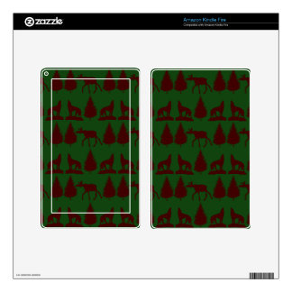 Wild Moose Wolves Pine Trees Rustic Green Maroon Decal For Kindle Fire