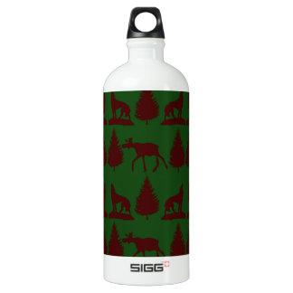Wild Moose Wolves Pine Trees Rustic Green Maroon Water Bottle