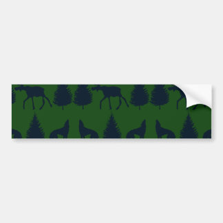 Wild Moose Wolves Pine Trees Rustic Green Navy Car Bumper Sticker