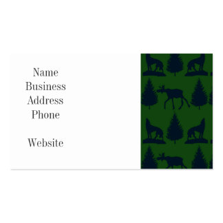 Wild Moose Wolves Pine Trees Rustic Green Navy Business Card