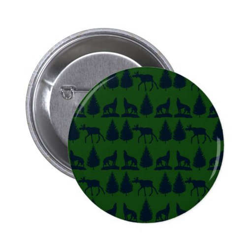 Wild Moose Wolves Pine Trees Rustic Green Navy Buttons
