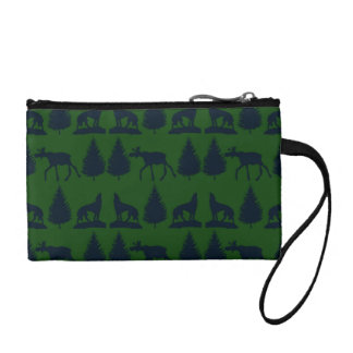 Wild Moose Wolves Pine Trees Rustic Green Navy Coin Wallet
