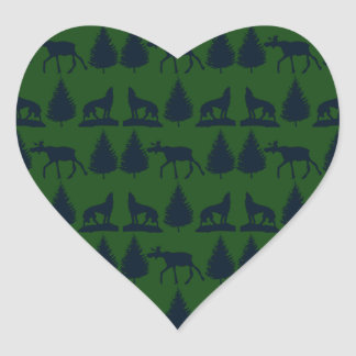 Wild Moose Wolves Pine Trees Rustic Green Navy Heart Sticker