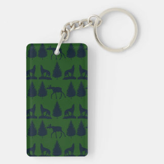 Wild Moose Wolves Pine Trees Rustic Green Navy Keychain