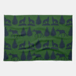 Wild Moose Wolves Pine Trees Rustic Green Navy Kitchen Towels