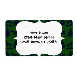 Wild Moose Wolves Pine Trees Rustic Green Navy Personalized Shipping Label