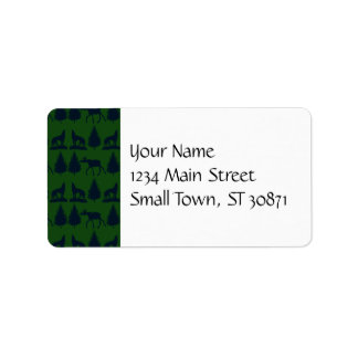 Wild Moose Wolves Pine Trees Rustic Green Navy Personalized Address Labels