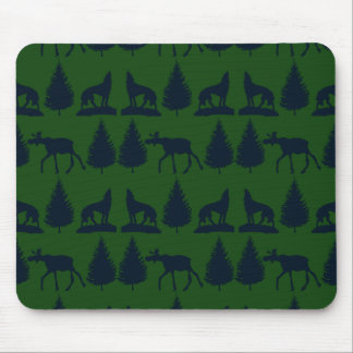 Wild Moose Wolves Pine Trees Rustic Green Navy Mousepad