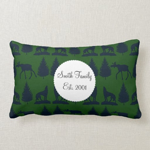 Wild Moose Wolves Pine Trees Rustic Green Navy Pillow