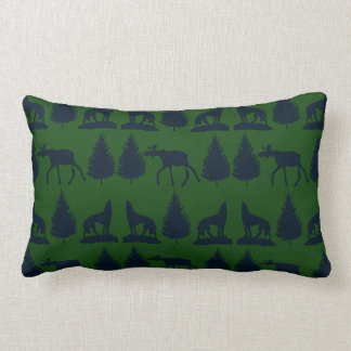 Wild Moose Wolves Pine Trees Rustic Green Navy Pillows