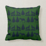 Wild Moose Wolves Pine Trees Rustic Green Navy Throw Pillows