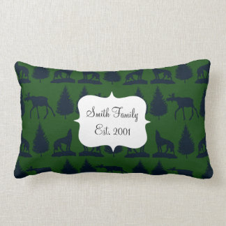 Wild Moose Wolves Pine Trees Rustic Green Navy Throw Pillow