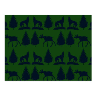 Wild Moose Wolves Pine Trees Rustic Green Navy Postcard