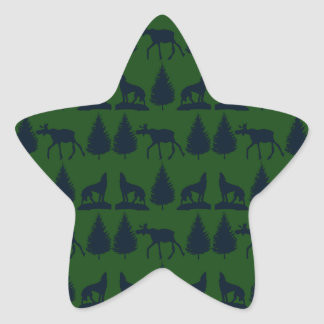 Wild Moose Wolves Pine Trees Rustic Green Navy Star Sticker