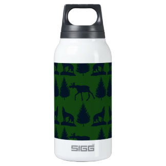 Wild Moose Wolves Pine Trees Rustic Green Navy Thermos Water Bottle