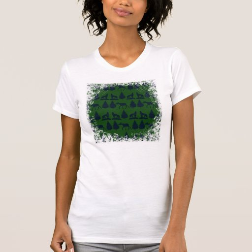 Wild Moose Wolves Pine Trees Rustic Green Navy T Shirt