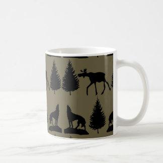 Wild Moose Wolves Pine Trees Rustic Tan Black Mug
