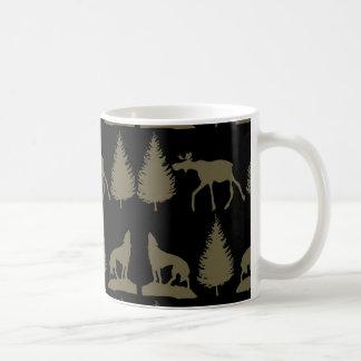 Wild Moose Wolves Pine Trees Rustic Tan Black Coffee Mug