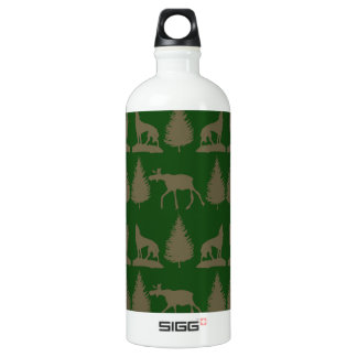 Wild Moose Wolves Pine Trees Rustic Tan Green Aluminum Water Bottle