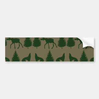 Wild Moose Wolves Pine Trees Rustic Tan Green Car Bumper Sticker