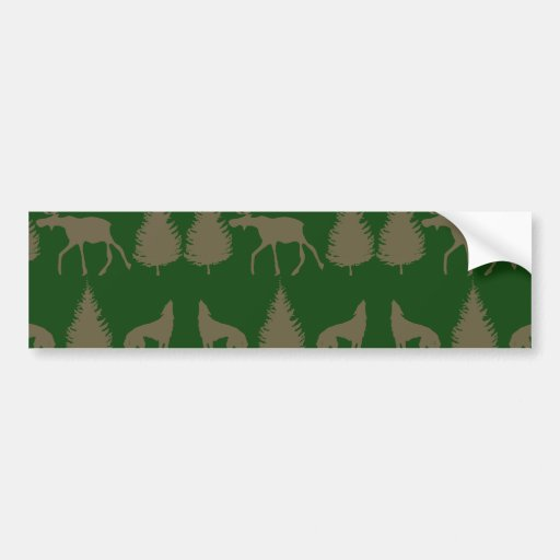 Wild Moose Wolves Pine Trees Rustic Tan Green Bumper Stickers