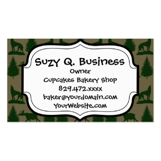 Wild Moose Wolves Pine Trees Rustic Tan Green Business Card