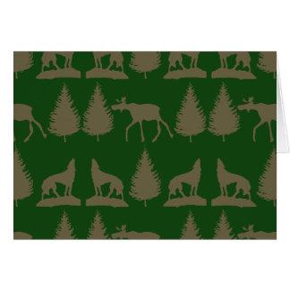 Wild Moose Wolves Pine Trees Rustic Tan Green Card