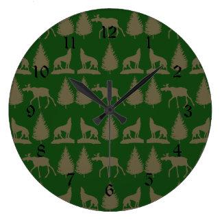 Wild Moose Wolves Pine Trees Rustic Tan Green Wall Clocks