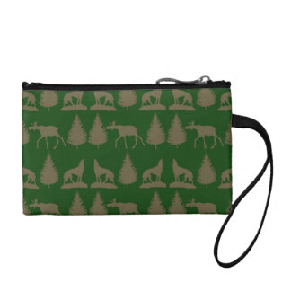 Wild Moose Wolves Pine Trees Rustic Tan Green Coin Wallet