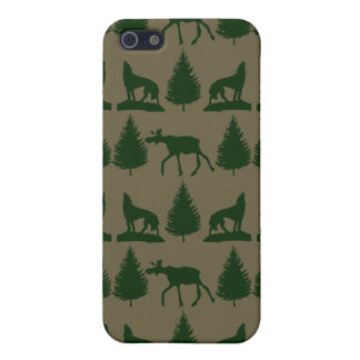Wild Moose Wolves Pine Trees Rustic Tan Green Cover For iPhone 5