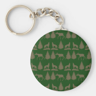 Wild Moose Wolves Pine Trees Rustic Tan Green Keychain
